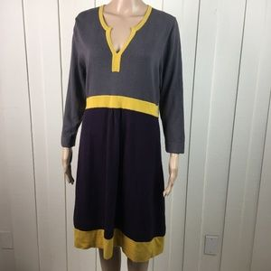 Boden Colorblock Long Sleeve Shift Dress Size 12